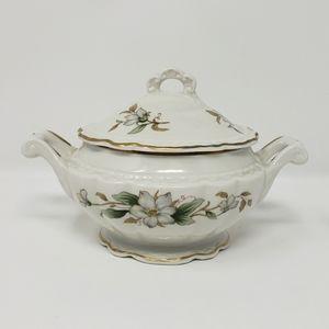 Vintage White Ceramic Floral Sugar Bowl